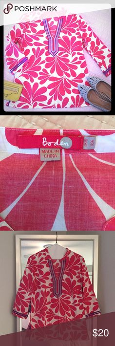 🎀Boden🎀 breezy cotton shirt Adorable and fun pink and white Boden shirt. 100% Colton and 100% comfortable! Mint condition. Boden Tops