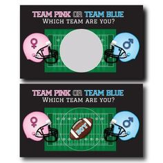 Football Gender Reveal Scratch off Cards Scratch Off Cards, Custom Candy, Bar Wrappers, Baby Shower Games, Gender Reveal, A Team, Card Stock, Birthday Cards, Football