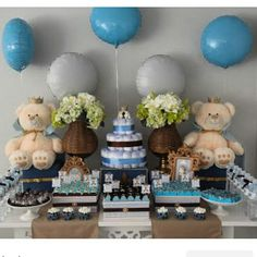 Cha Baby Party, Baby Shower Parties, Baby Shower Themes, Baby Shower Decorations, Shower Party, Teddy Bear Baby Shower, Baby Boy Shower, Teddy Bear Birthday, Candy Bar Party