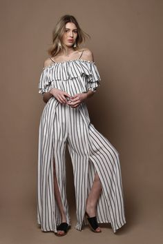 Black & White Striped Ruffle Top & Wide Leg Pant Coord Set