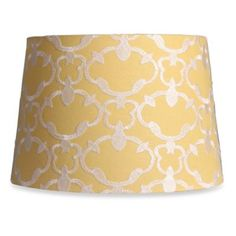 Mix & Match Medium 13-Inch Embroidered Linen Drum Lamp Shade in Yellow - BedBathandBeyond.com