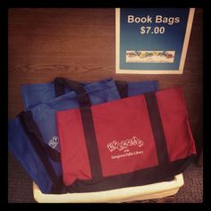 Day Twenty-Five: book bags. The Friends of the Library sell these in the used bookstore on the second floor. Friends Of The Library, Book Bags, Second Floor, Paper Shopping Bag, The Twenties, Two By Two, Books, Movies, Backpacks