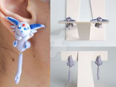 Espeon Eeveelution Earrings by ArtzieRush on DeviantArt