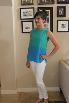 Love this entire look - blue/green color blocking (love the color! love the clean lines!) + something other than jeans on the bottom (I'm so guilty of only wearing jeans)