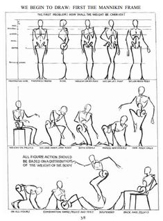 """Figure Drawing Poses superkianagalaxy: """" Working with a mannikin frame from Figure Drawing For All It's Worth by Andrew Loomis """" - Drawing Body Proportions, Body Drawing, Anatomy Drawing, Life Drawing, Drawing Sketches, Sketching, Arm Drawing, Figure Drawing Tutorial, Human Figure Drawing"""