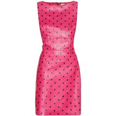 Saint Laurent Printed Leather Dress ($1,540) ❤ liked on Polyvore featuring dresses, pink, vestidos, short dresses, genuine leather dress, short pink dress, pink mini dress, mini dress and yves saint laurent dresses