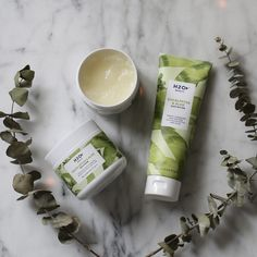 H2O+ Beauty Eucalyptus & Aloe Body Collection offers a Body Scrub, Body Wash and Body Butter   Energizing formulas featuring Vitamin E and Coconut Butter moisturize and replenish the skin while the scents of Eucalyptus and Aloe invigorate the senses.
