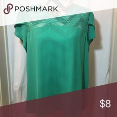 Green lace detail blouse Perfect for Sping! Kelly green shirt with lace detail across neckline. Meraki  Tops Blouses