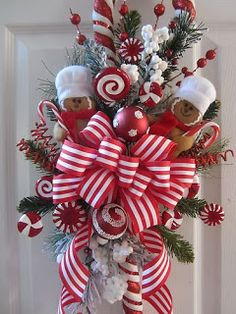 Xmas Swag Gingerbread Ornament Faux Candy Cane Ribbon Floral Decor not Wreath Christmas Swags, Holiday Wreaths, Winter Christmas, Holiday Crafts, Christmas Holidays, Merry Christmas, Christmas Ornaments, Burlap Christmas, Primitive Christmas