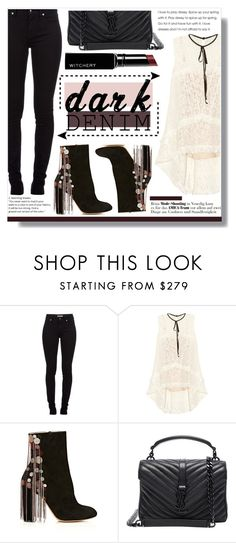 """""""DARK DENIM"""" by brenndha ❤ liked on Polyvore featuring Burberry, Erdem, Chloé, Yves Saint Laurent, Witchery, GetTheLook, StreetStyle, DayToNight, amazing and Luxe"""