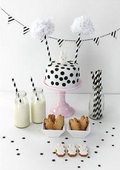 Black, white, stripes and polka dots