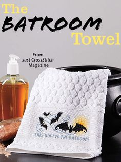 The Batroom Towel from the Sep/Oct 2016 issue of Just CrossStitch Magazine. Order a digital copy here: https://www.anniescatalog.com/detail.html?prod_id=133007