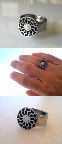 Men's black sun symbol  band ring.A unique handmade enamel painted ring #blacksun
