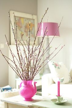 pink blossom by wood & wool stool, via Flickr