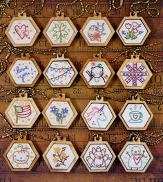 16 mini hexie pendant embroidery Pattern PDF by Hudsonsholidays