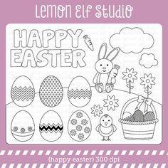 Happy Easter-Digital Stamp (LES.DS23) – Lemon Elf Studio