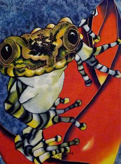 Painting of frog on silk. Michele Shute