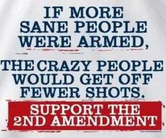 If more sane people were armed, the crazy people would get off fewer shots.  Support the 2nd Amendment!  Personally, I am for having double entry locked vestibules in all schools AND armed guards!  If teachers are willing to pass firearms training and be armed, then I am okay with that, too.