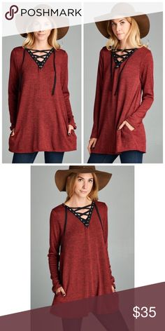 Boho Burgundy Lace Up Tunic Sweater S M L Burgundy lace up loose fit tunic sweater, hidden side pockets, Polyester Rayon Spandex Blend.  Available in size Small,  Medium, or Large.  ARRIVING MONDAY/SHIPPING TUESDAY!  No Trades, Price Firm unless Bundled.  BUNDLE 3 OR MORE ITEMS FOR 15 % OFF. Boutique Sweaters V-Necks