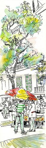 Street-sketch-Rio - Lynne Chapman - Urban Sketchers Symposium 2014 in Paraty http://lynnechapman.blogspot.co.uk/2014/09/back-in-real-world.html