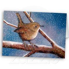 Wren In Winter: Oil Pastel Artwork:  Card