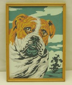 """Darling Vintage Paint By Number """"Bulldog"""" Dog Painting Maple Frame No Glass"""