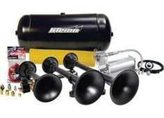 "PRO BLASTER™ 150 PSI TRIPLE TRAIN HORN Kit Our biggest train horn kit! The Demon™ Model 730's massive & detachable XCR 2.0™ spun steel trumpets (18.25"", 14.75"", 10.5"") allow tons of installation options. Includes a high output 150 psi, 100% duty compressor, 5 gallon tank and tire inflation kit with storage bag. The 730 can be upgraded by adding an Ultra Blast Master™ valve upgrade. Please call 1-866-658-7952 for pricing and availability."