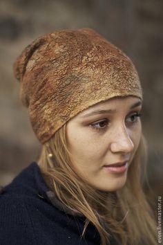 """шапка """"Медовая"""" - золотой,мед,шелк,шерсть,нуно-войлок,шерсть меринос,шелк ручного крашения"""