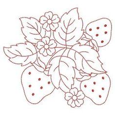 Redwork Yummy Strawberries 9 - 3 Sizes!   Redwork   Machine Embroidery Designs   SWAKembroidery.com