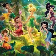 Disney Fairies (Disney Fairies) - Walltastic Wallpapers - A mural showing all of the Disney fairies including Tinkerbell, within their mystical woodland hideaway. Disney Pixar, Disney Vans, Disney Cartoons, Tinkerbell And Friends, Tinkerbell Disney, Tinkerbell Fairies, Tinkerbell Party, Tinkerbell Wallpaper, Fairy Wallpaper