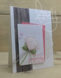 Be Happy | Stampin\' Up! | Bunch of Blossoms #literallymyjoy #flowers #happiness #behappy #powderpink #flirtyflamingo #WoodTexturesDSP #20172018AnnualCatalog