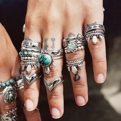 ❧ Take a walk on the western side ❧ In store now ☞ shopdixi.com ❧ shop dixi // dixi // boho // bohemian // jewelry // jewellery // grunge // goth // hippie // hipster // gothic // stack // sterling silver // turquoise // moonstone // midi // ring // wishbone
