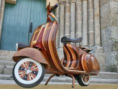 Wood, Carlos Alberto, Artist, Daniela, handcrafted wooden Vespa scooter, wood from Brazil and Mozambique, fire-proof varnish