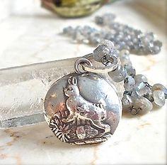Silver EASTER  BUNNY Rabbit Labradorite Gemstone Chain Necklace . Happy Bunny on 36 inch Gemstone Wire Wrapped Oxidized Labradorite Chain. (150.00 USD) by YourDailyJewels