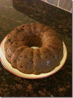 Chocolate Chip Pound Cake 1 butter cake mix 1 small instant choc. pudding 4 eggs 1 cup veg. oil 3/4 cup water 1 cup sour cream 1 tsp vanilla 6 oz of choc. chips