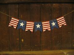 Primitive Burlap Ribbon Banner Freedom Isn/'t Free Ornament Garland Patriotic NEW