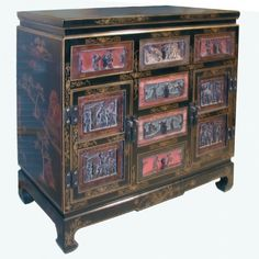Chinese Black Lacquer Cabinet Cabinet Styles, Chinese Antiques, Cabinets, Furniture, Black, Home Decor, Armoires, Decoration Home, Fitted Wardrobes
