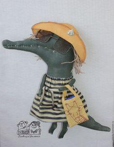 Игрушки животные, ручной работы. Ярмарка Мастеров - ручная работа. Купить Лето, море, пляж, прибой.... Handmade. Тёмно-зелёный #крокодил