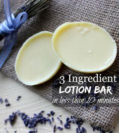 Want to use natural skin care but don't have tons of money or time? These 3 ingredient lotion bars take less than 10 minutes to whip up and use natural ingredients, you probably already have some of them in your kitchen. Grab this easy recipe and tutorial