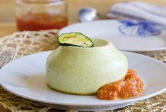 Flan de calabacín y salsa de tomate