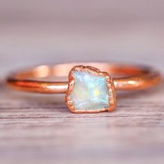 Dainty Opal and Copper Ring || Available in our 'Mermaid' Collection || www.indieandharper.com