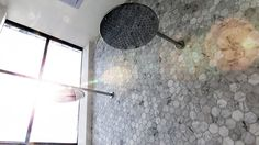 Darren & Dee's ensuite gorgeous marble hexagonal tiles - get this look at TILE junket, Gordon Ave Geelong West Bathroom Renovations, Home Renovation, Bathrooms, The Block Bathroom, The Block Glasshouse, Double Shower, Picture Tiles, Glass House, Wall Tiles