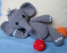 Playful Elephant Bert- Amigurumi Crochet Pattern / PDF e-Book / Stuffed Animal Tutorial