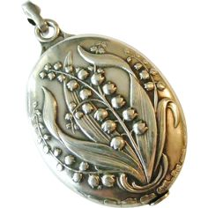 French art nouveau 800-900 silver lily of the valley locket