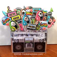 """Boom Box Cookie bouquet """"They were fabulous! The party was awesome. Looking forward to ordering from you next year :) Larissa"""" Prince Birthday Party, Prince Party, 30th Birthday Parties, Boy First Birthday, Birthday Party Themes, 23 Birthday, Surprise Birthday, 90s Theme Party Decorations, 80s Theme"""