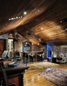eclectic music room with bar