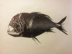 Anoplogaster Cornuta (deepsea fish)