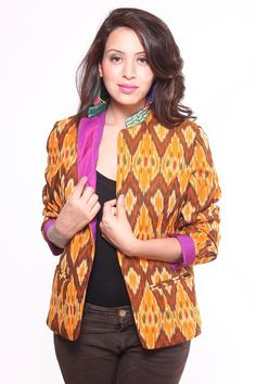 Ethnic Cotton Ikat Jacket - $59.99. http://www.youngrepublic.com/women/tops/jackets-blazers-coats/cotton-ikat-jacket-3.html