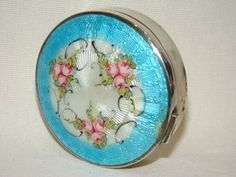 Gorgeous Antique Sterling Enamel Guilloche Painted Pink Roses Compact Powder Box | eBay