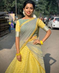 Let's discuss traditional dress which has been in highlight for quite a sometime, which is Half Saree and see some of the trending designs in half sarees. Lehenga Saree Design, Half Saree Lehenga, Saree Look, Lehenga Designs, Saree Blouse Designs, Lehnga Dress, Gown Dress, Half Saree Designs, Fancy Blouse Designs
